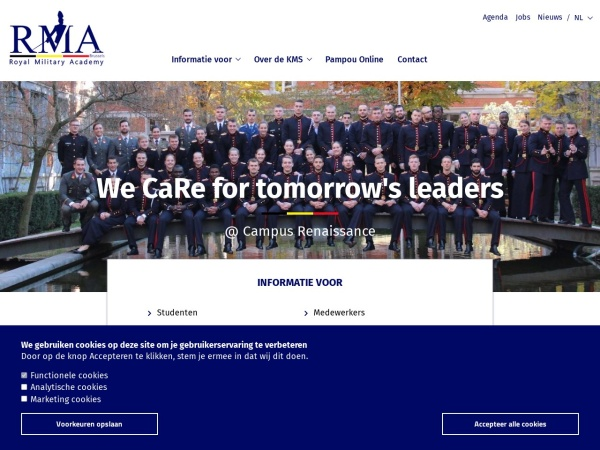 Screenshot of www.rma.ac.be