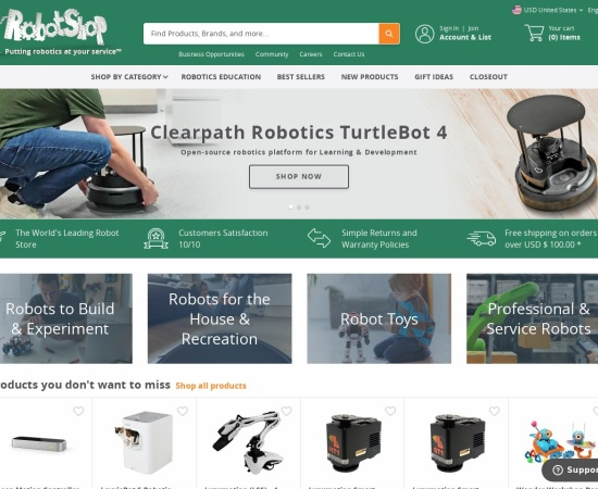 Screenshot of www.robotshop.com