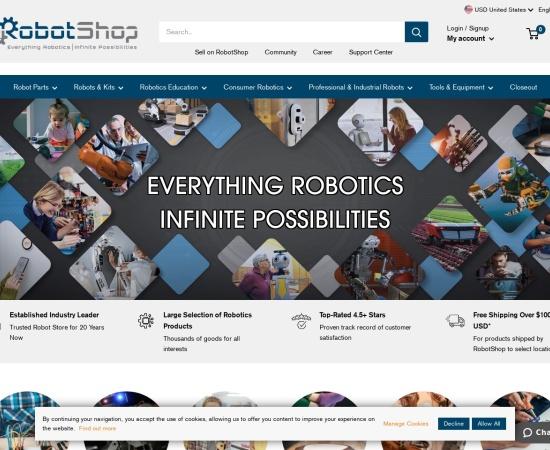 Screenshot of www.robotshop.com