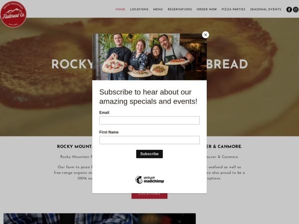 Screenshot of www.rockymountainflatbread.ca