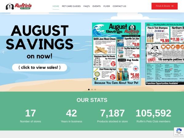 Screenshot of www.ruffinspet.com