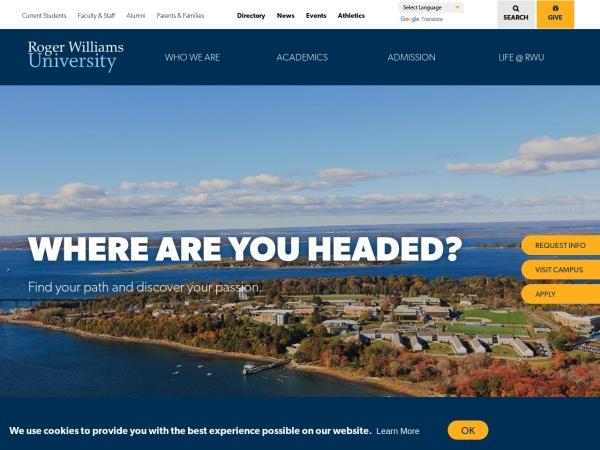 Screenshot of www.rwu.edu