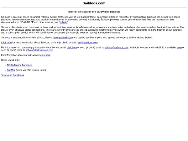 Screenshot of www.saildocs.com