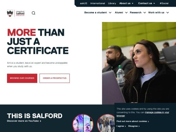 Screenshot of www.salford.ac.uk
