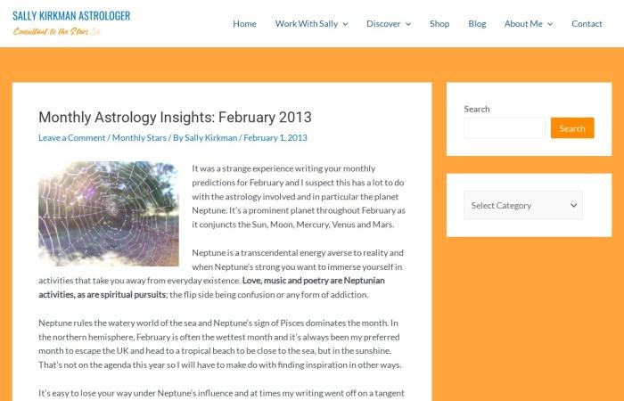 Screenshot of www.sallykirkman.com
