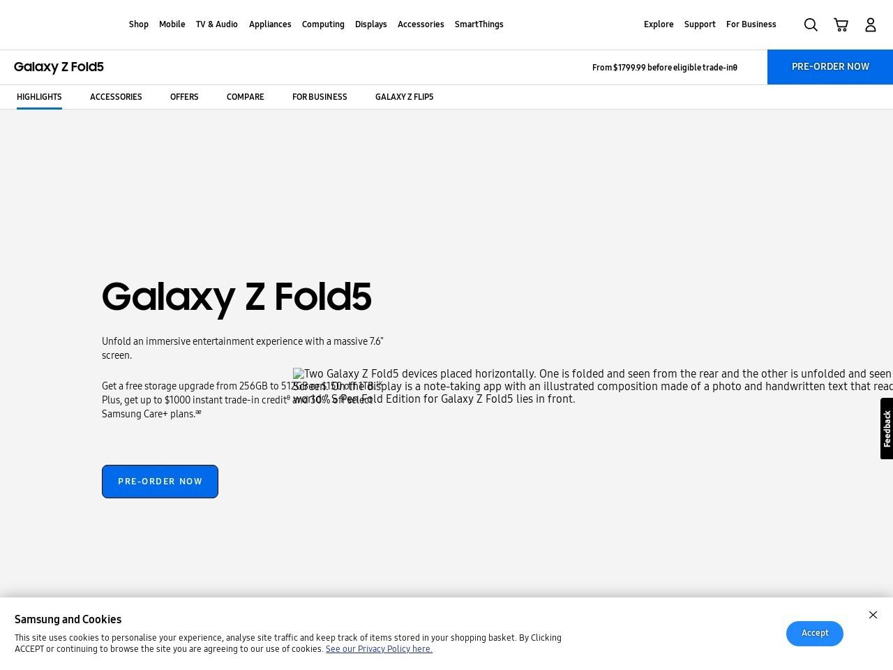 Screenshot of www.samsung.com
