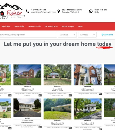 Screenshot of www.sarafisherrealtor.com