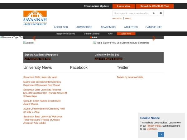 Screenshot of www.savannahstate.edu