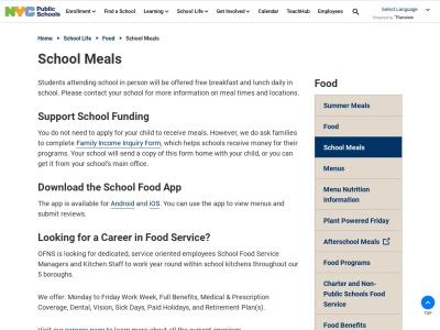 Screenshot of www.schoolfoodnyc.org