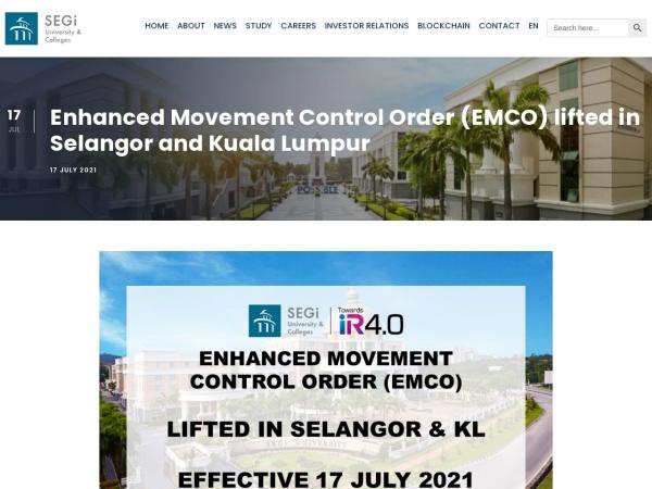 Screenshot of www.segi.edu.my