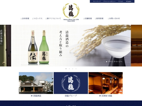 Screenshot of www.seiryu-syuzou.co.jp