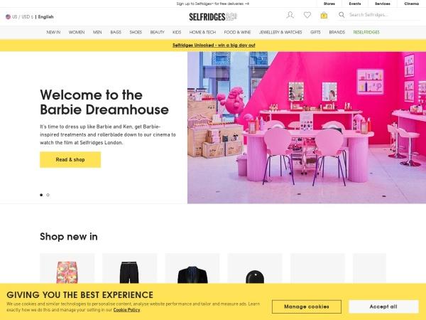 Screenshot of www.selfridges.com