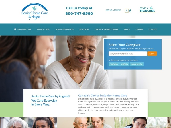 Screenshot of www.seniorhomecarebyangels.com
