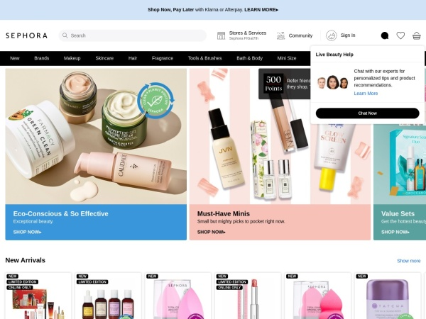 Screenshot of www.sephora.com