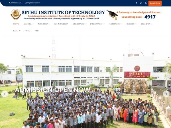 Screenshot of www.sethu.ac.in