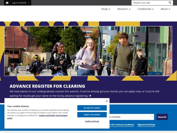 Screenshot of www.sheffield.ac.uk