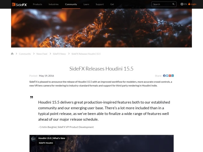 http://www.sidefx.com/news/sidefx-releases-houdini-155/