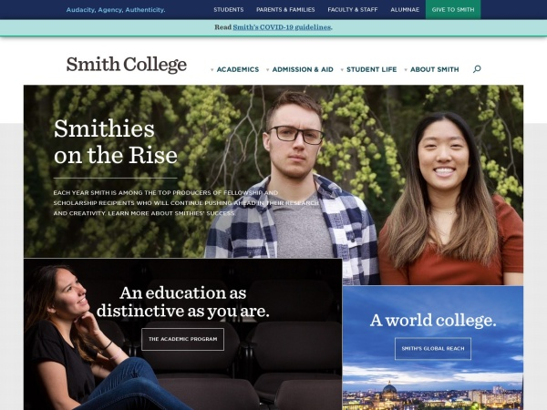 Screenshot of www.smith.edu