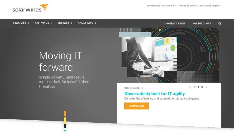 Screenshot of www.solarwinds.com