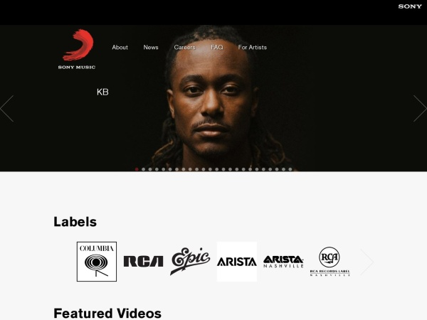 Screenshot of www.sonymusic.com