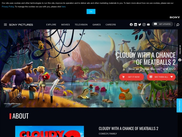 Screenshot of www.sonypictures.com
