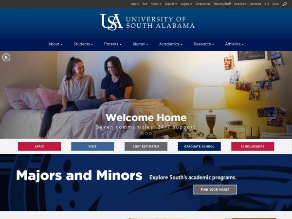 Screenshot of www.southalabama.edu