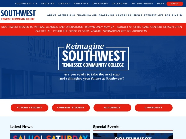 Screenshot of www.southwest.tn.edu