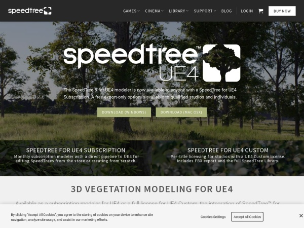 Screenshot of www.speedtree.com