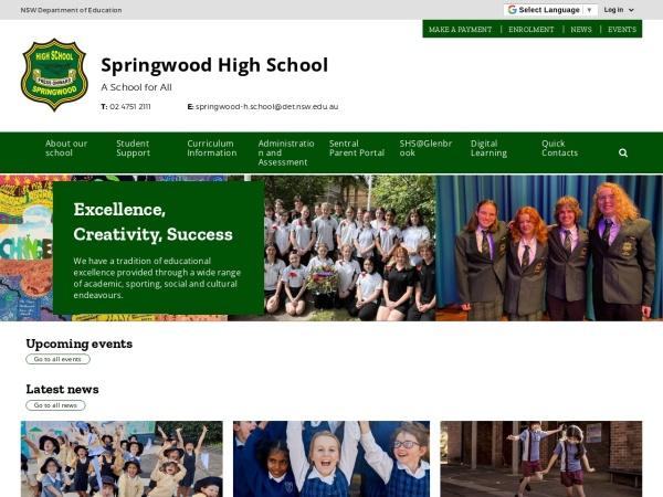 Screenshot of www.springwood-h.schools.nsw.edu.au