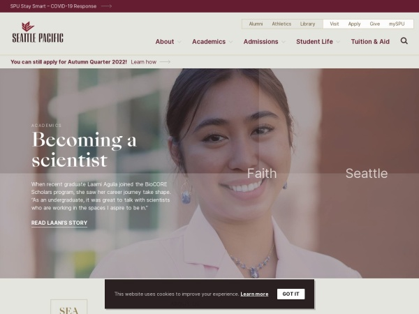 Screenshot of www.spu.edu