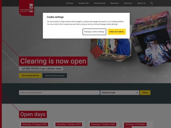 Screenshot of www.staffs.ac.uk