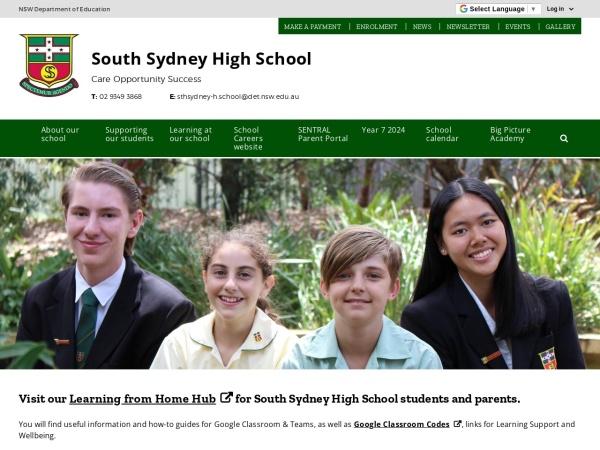Screenshot of www.sthsydney-h.schools.nsw.edu.au