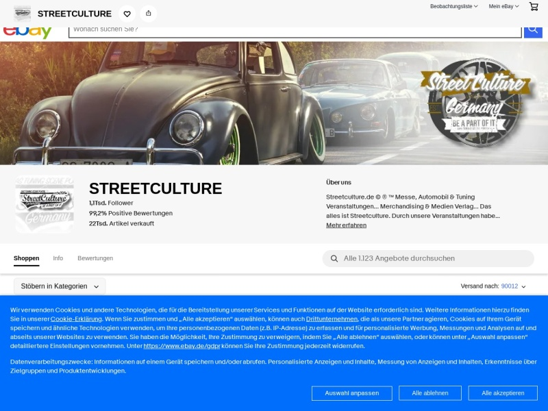 Screenshot of www.streetculture.de