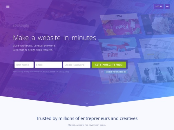 Screenshot of www.strikingly.com