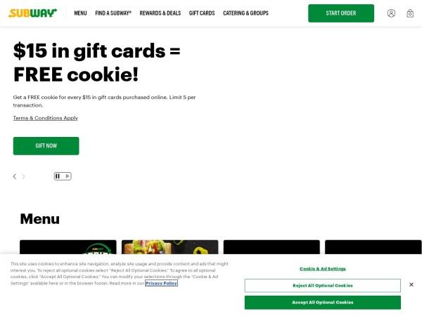 Screenshot of www.subway.com