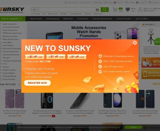 Screenshot of www.sunsky-online.com