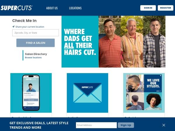 Screenshot of www.supercuts.com