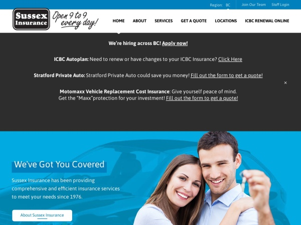 Screenshot of www.sussexinsurance.com