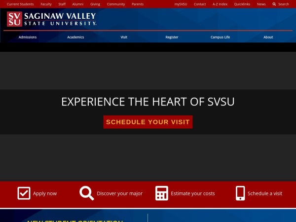 Screenshot of www.svsu.edu