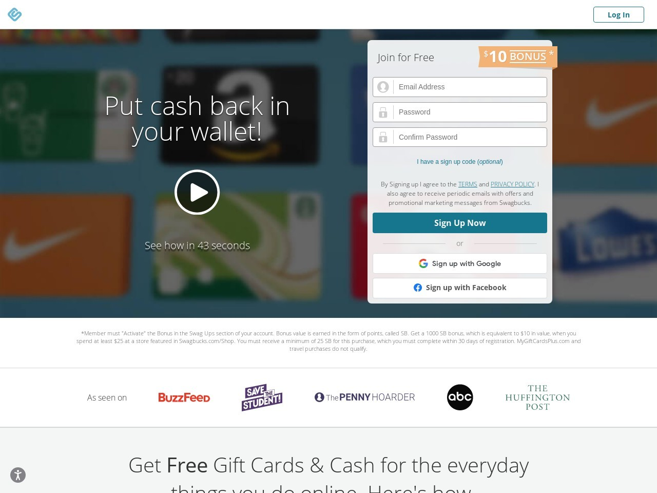Screenshot of www.swagbucks.com
