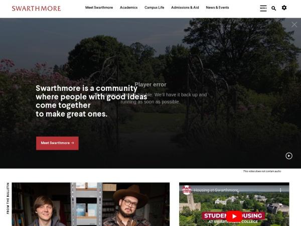 Screenshot of www.swarthmore.edu