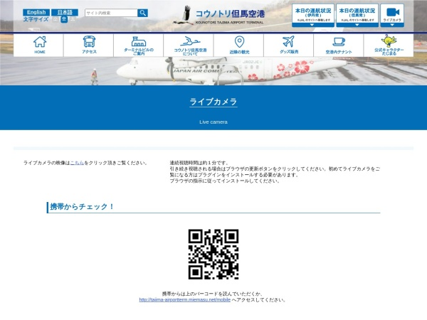 Screenshot of www.tajima-airport.jp