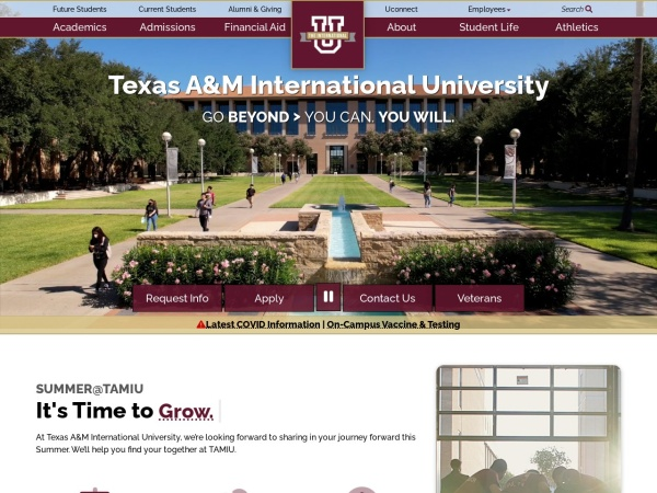 Screenshot of www.tamiu.edu