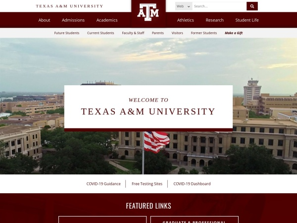 Screenshot of www.tamu.edu