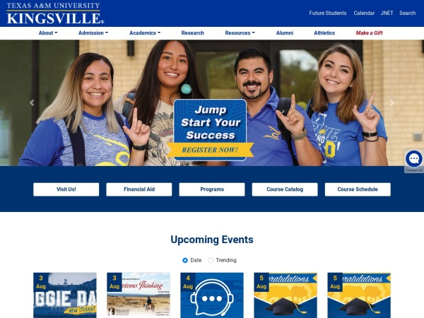 Screenshot of www.tamuk.edu