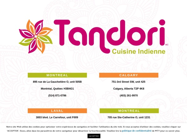 Screenshot of www.tandori.ca