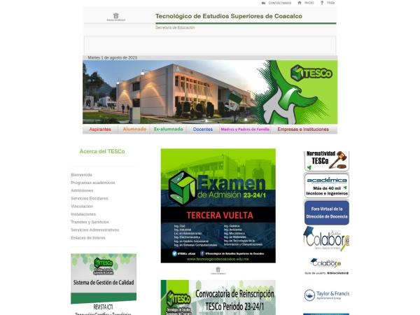 Screenshot of www.tecnologicodecoacalco.edu.mx