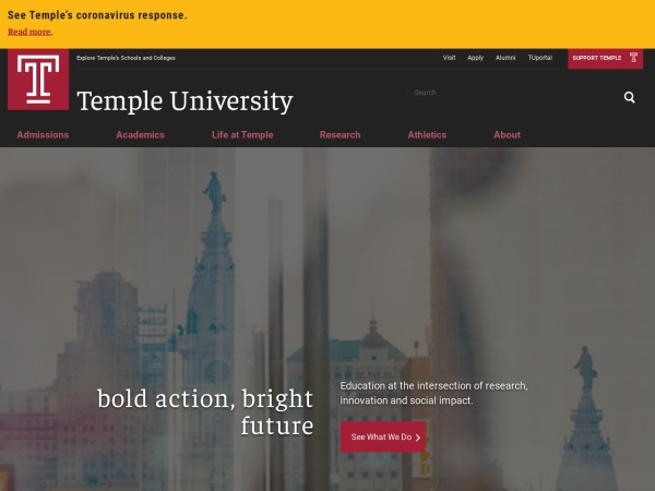 Screenshot of www.temple.edu