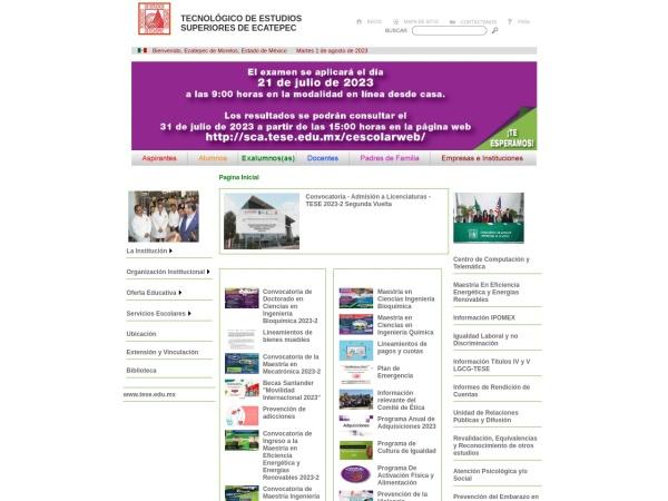 Screenshot of www.tese.edu.mx