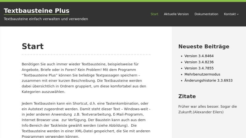Screenshot von www.textbausteine-plus.de